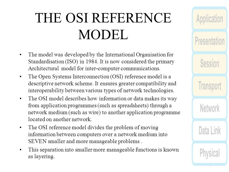 THE OSI REFERENCE MODEL The model was developed by the International Organisation for Standardisation (ISO) in 1984.