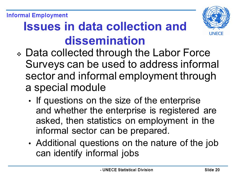 - UNECE Statistical Division Slide 20 Issues in data collection and dissemination  Data collected through the Labor Force Surveys can be used to address informal sector and informal employment through a special module If questions on the size of the enterprise and whether the enterprise is registered are asked, then statistics on employment in the informal sector can be prepared.