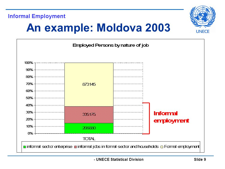 - UNECE Statistical Division Slide 9 An example: Moldova 2003 Informal Employment