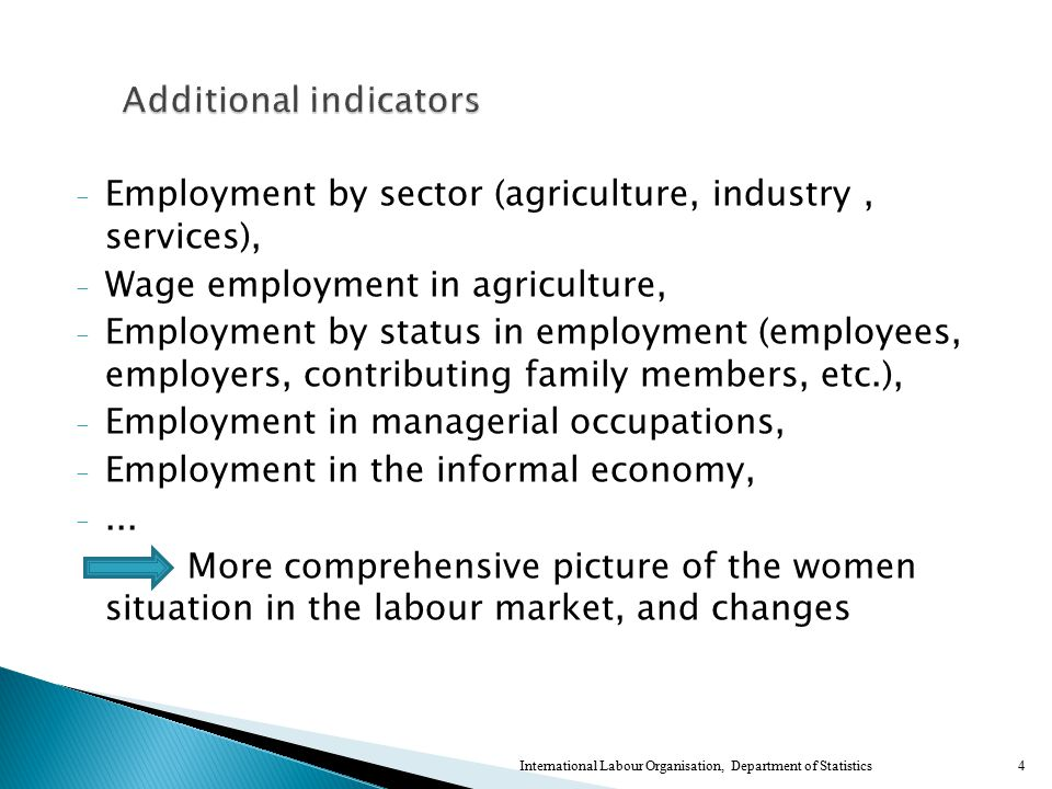 - Employment by sector (agriculture, industry, services), - Wage employment in agriculture, - Employment by status in employment (employees, employers, contributing family members, etc.), - Employment in managerial occupations, - Employment in the informal economy, -...