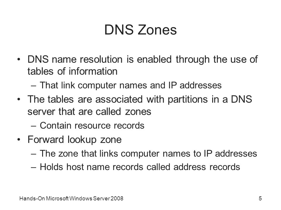 Hands-On Microsoft Windows Server DNS Zones DNS name resolution is enabled through the use of tables of information –That link computer names and IP addresses The tables are associated with partitions in a DNS server that are called zones –Contain resource records Forward lookup zone –The zone that links computer names to IP addresses –Holds host name records called address records