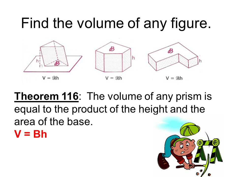 Find the volume of any figure.