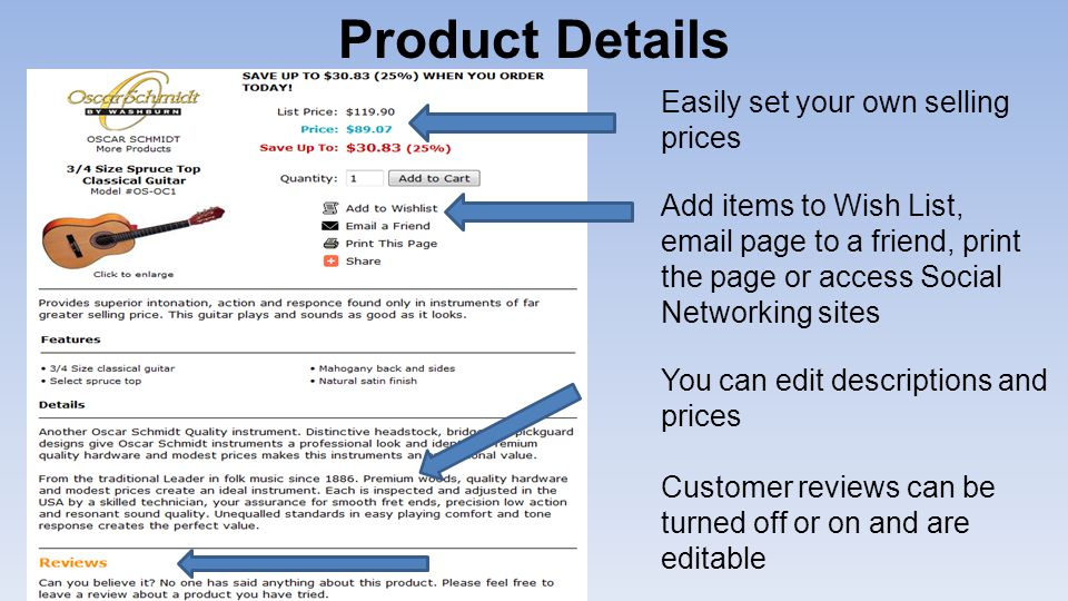 Product Details Easily set your own selling prices Add items to Wish List,  page to a friend, print the page or access Social Networking sites You can edit descriptions and prices Customer reviews can be turned off or on and are editable