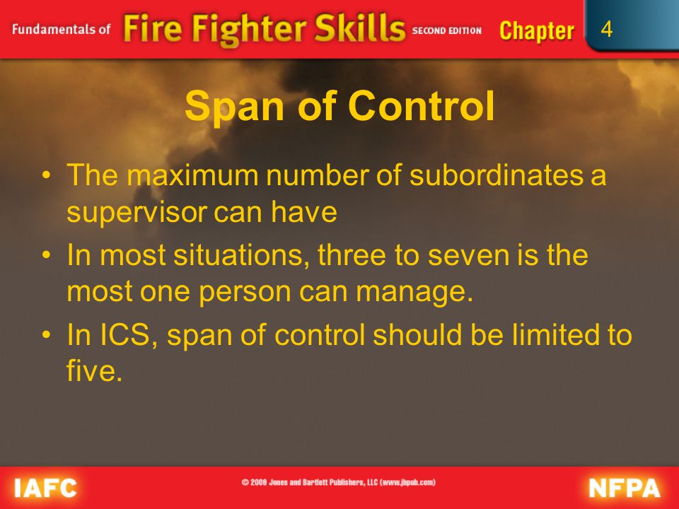 4 Span of Control The maximum number of subordinates a supervisor can have In most situations, three to seven is the most one person can manage.