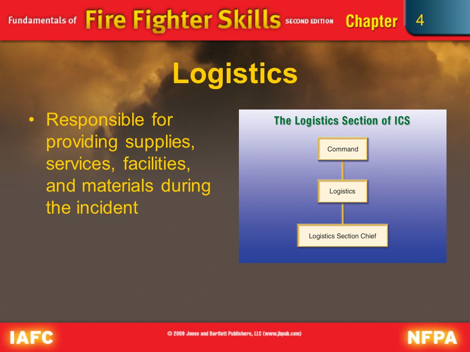 4 Logistics Responsible for providing supplies, services, facilities, and materials during the incident