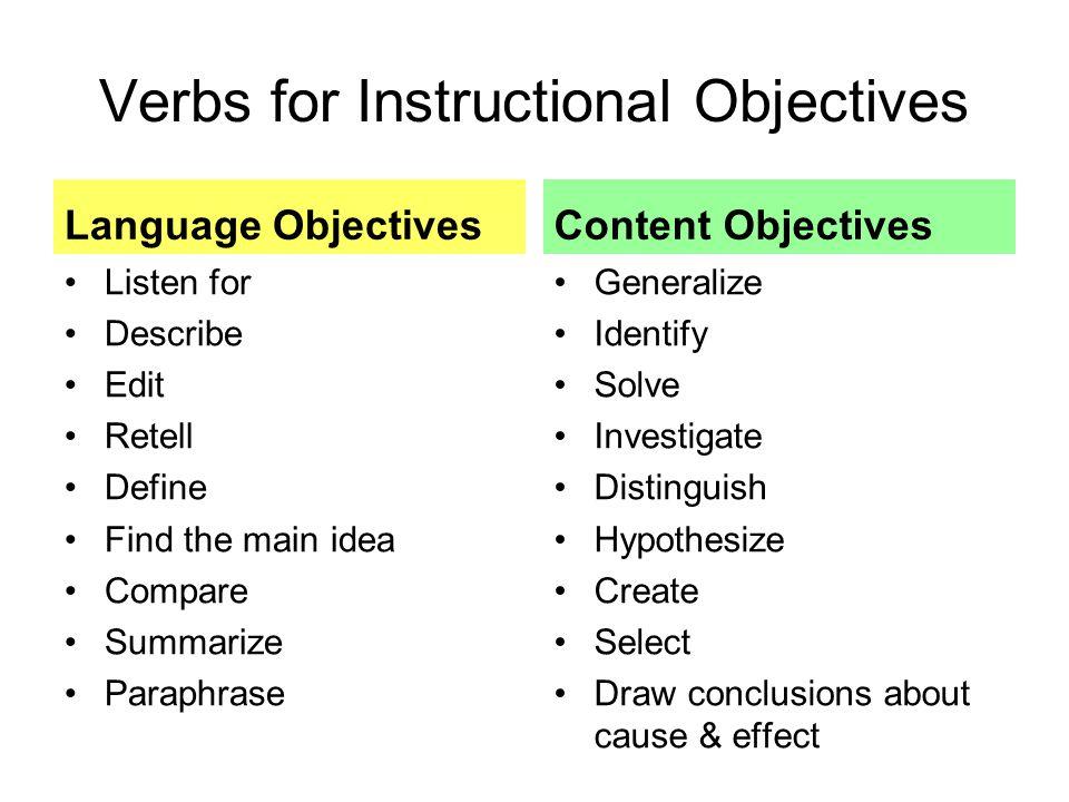 Language & Content Objectives Jill Kerper Mora San Diego State ...