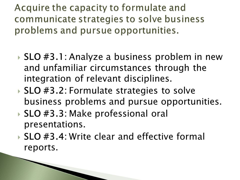  SLO #3.1: Analyze a business problem in new and unfamiliar circumstances through the integration of relevant disciplines.