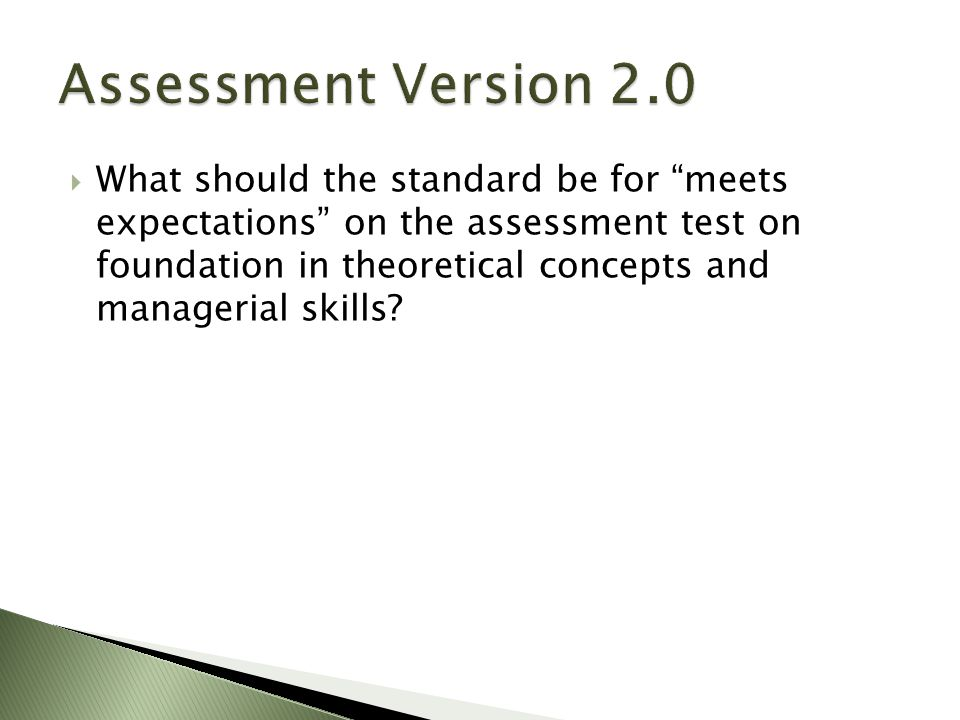  What should the standard be for meets expectations on the assessment test on foundation in theoretical concepts and managerial skills