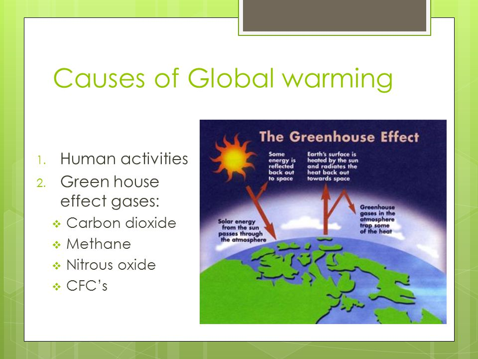 Causes of Global warming 1. Human activities 2.