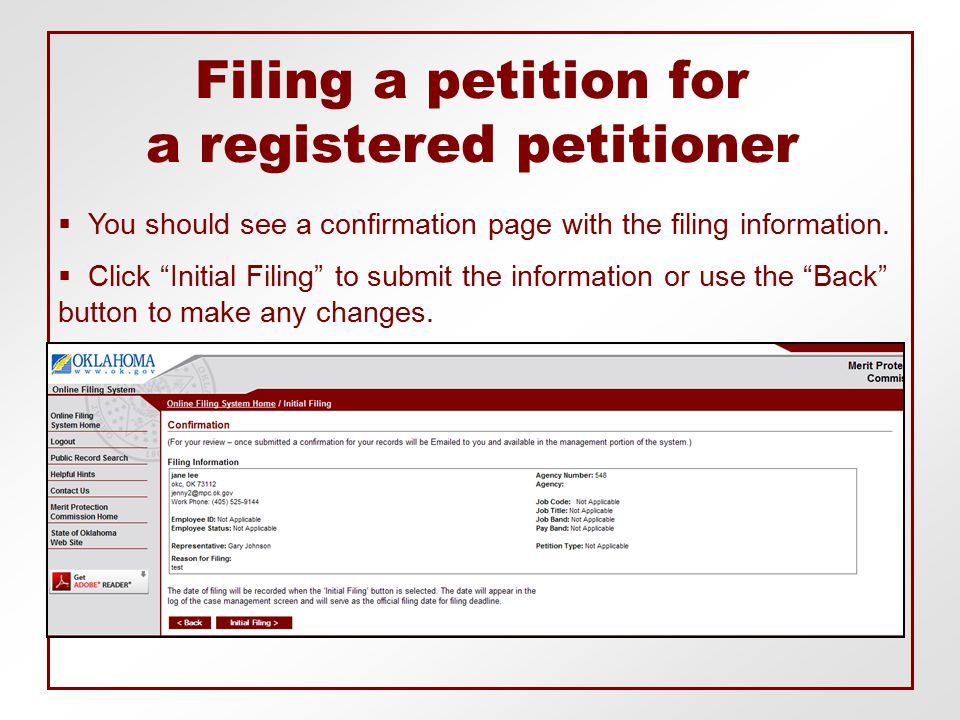 Filing a petition for a registered petitioner  You should see a confirmation page with the filing information.