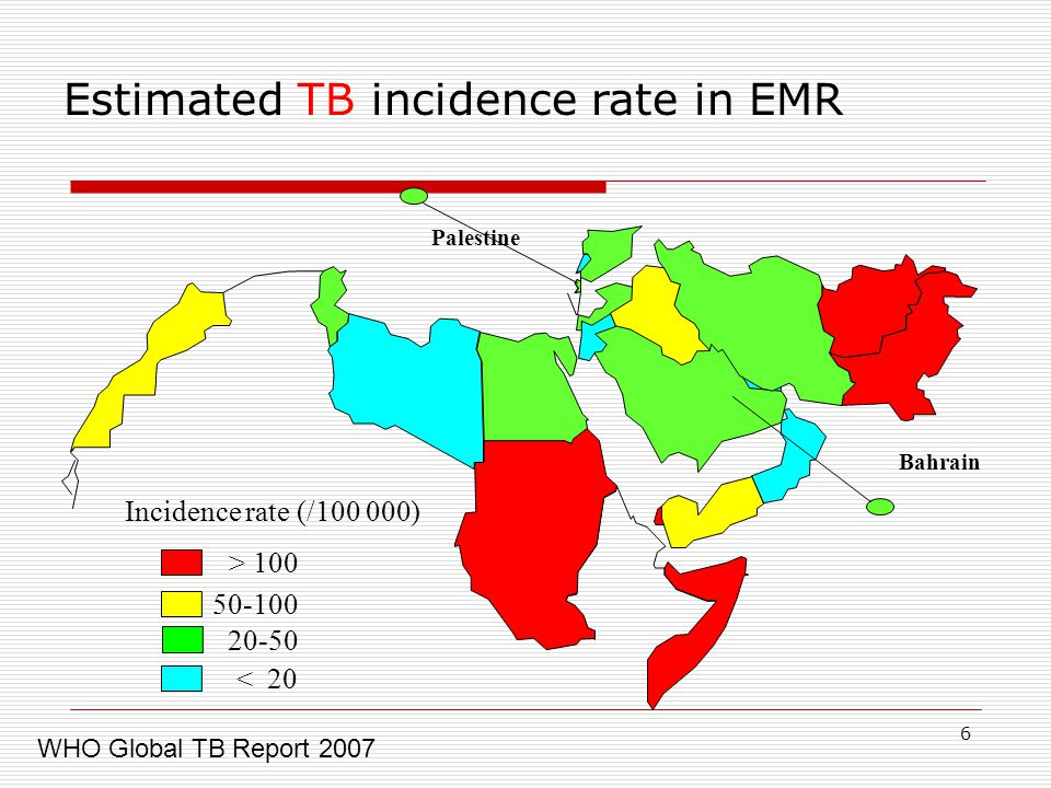 6 > 100 Incidence rate (/ ) < 20 Bahrain Palestine Estimated TB incidence rate in EMR WHO Global TB Report 2007