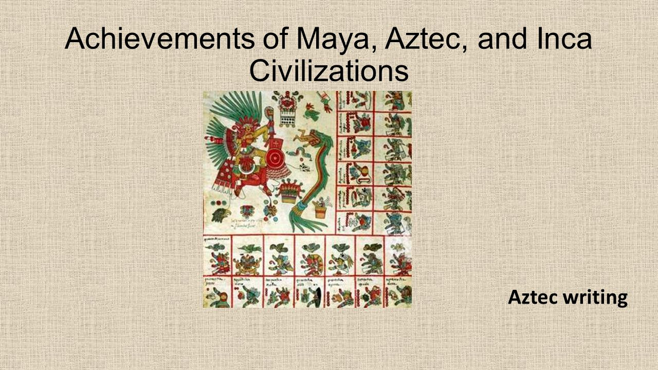 Achievements of Maya, Aztec, and Inca Civilizations Aztec writing