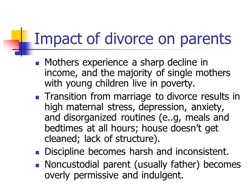 Impact of divorce on parents Mothers experience a sharp decline in income, and the majority of single mothers with young children live in poverty.