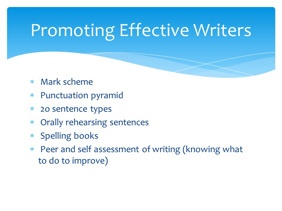  Mark scheme  Punctuation pyramid  2o sentence types  Orally rehearsing sentences  Spelling books  Peer and self assessment of writing (knowing what to do to improve) Promoting Effective Writers