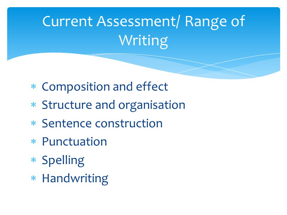  Composition and effect  Structure and organisation  Sentence construction  Punctuation  Spelling  Handwriting Current Assessment/ Range of Writing