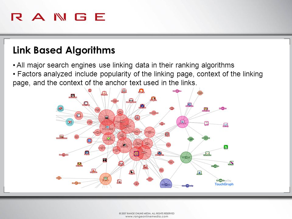 Link Based Algorithms All major search engines use linking data in their ranking algorithms Factors analyzed include popularity of the linking page, context of the linking page, and the context of the anchor text used in the links.