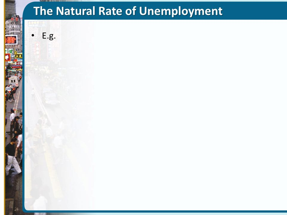 The Natural Rate of Unemployment E.g.