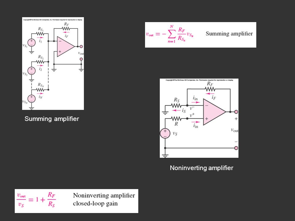 Summing amplifier Noninverting amplifier