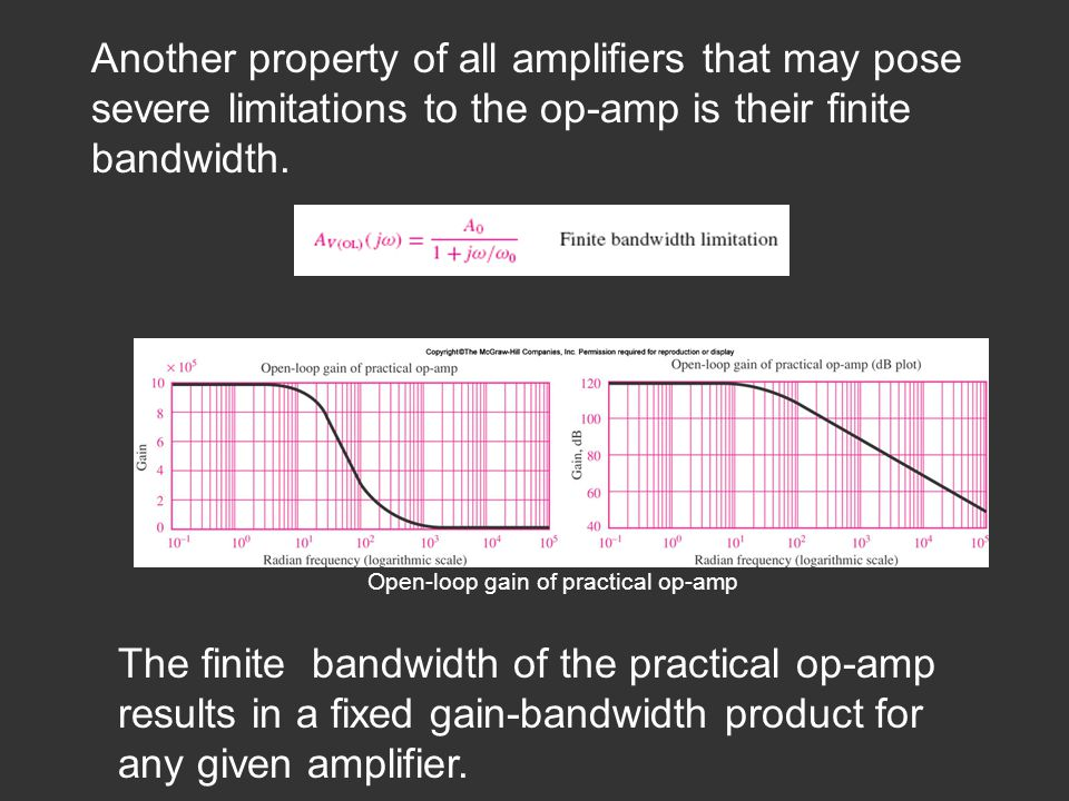 Another property of all amplifiers that may pose severe limitations to the op-amp is their finite bandwidth.