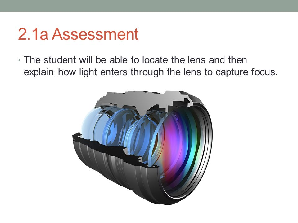 2.1a Assessment The student will be able to locate the lens and then explain how light enters through the lens to capture focus.