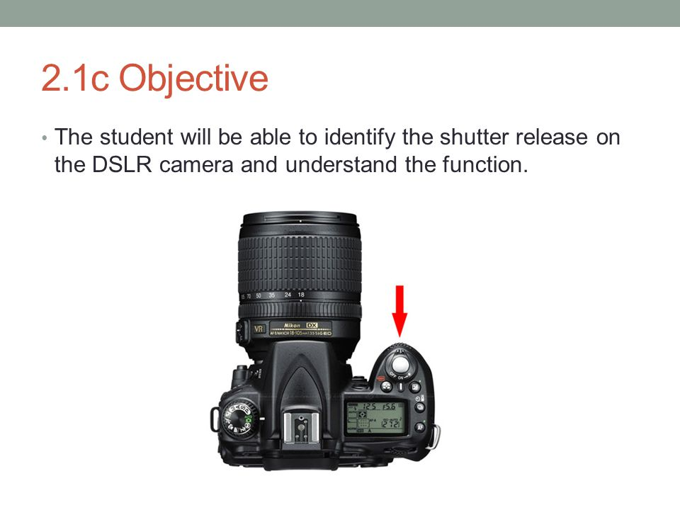 2.1c Objective The student will be able to identify the shutter release on the DSLR camera and understand the function.
