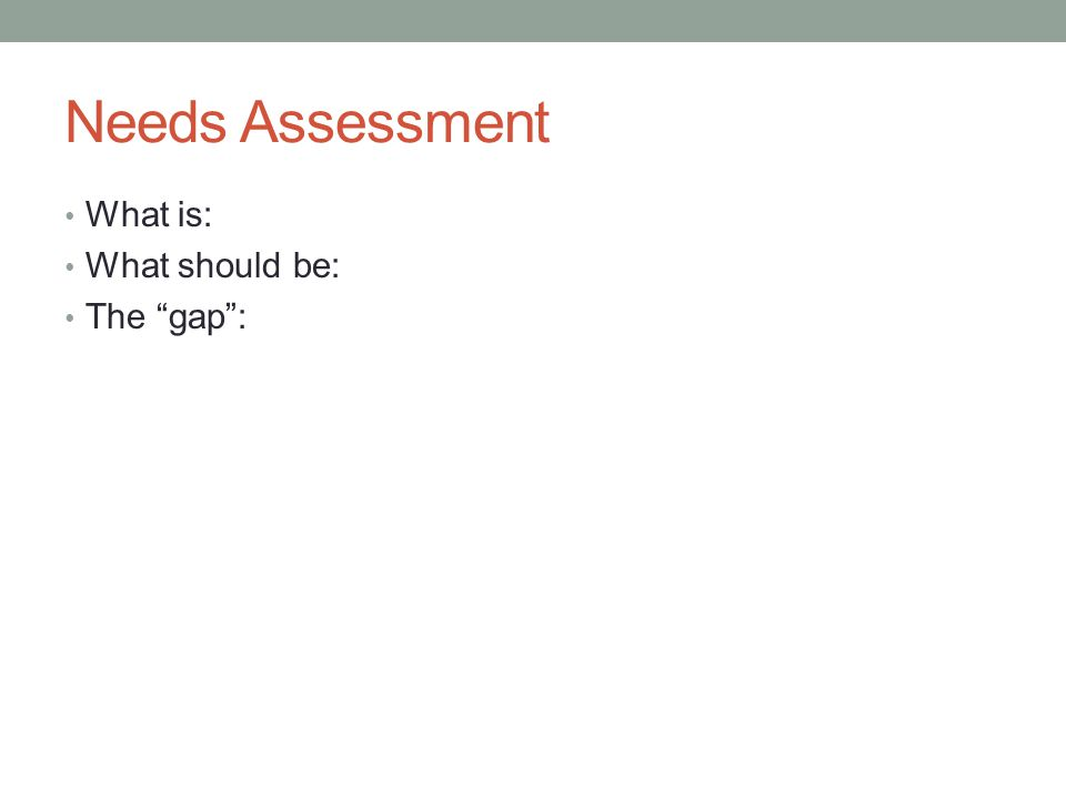 Needs Assessment What is: What should be: The gap :
