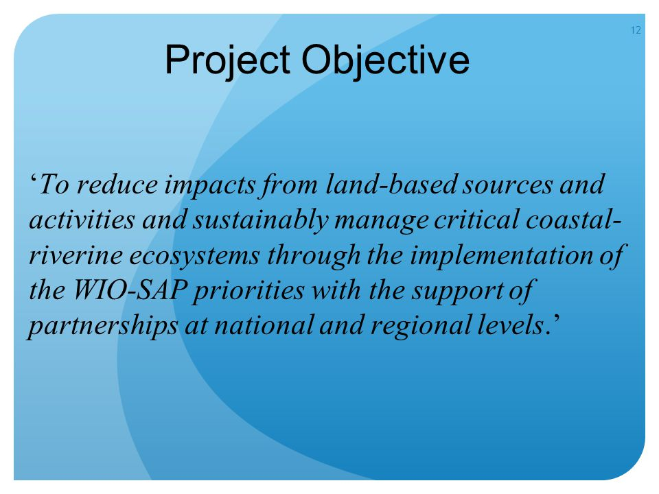 12 Project Objective 'To reduce impacts from land-based sources and activities and sustainably manage critical coastal- riverine ecosystems through the implementation of the WIO-SAP priorities with the support of partnerships at national and regional levels.'