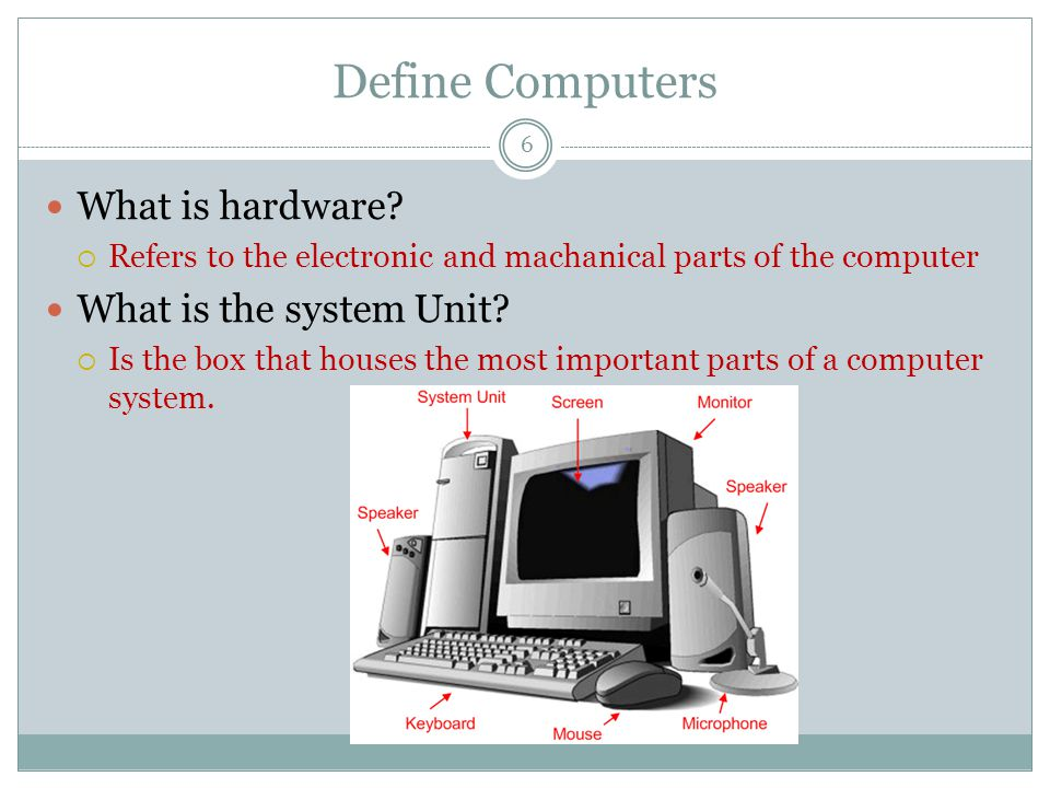 Define Computers What is hardware.