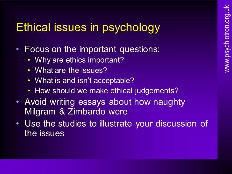 ethical problem in psychological research essay Research ethics, moral dilemmas in research, nature of nursing, nursing research, nursing advocacy introduction ethics is rooted in the ancient greek philosophical inquiry of moral life.
