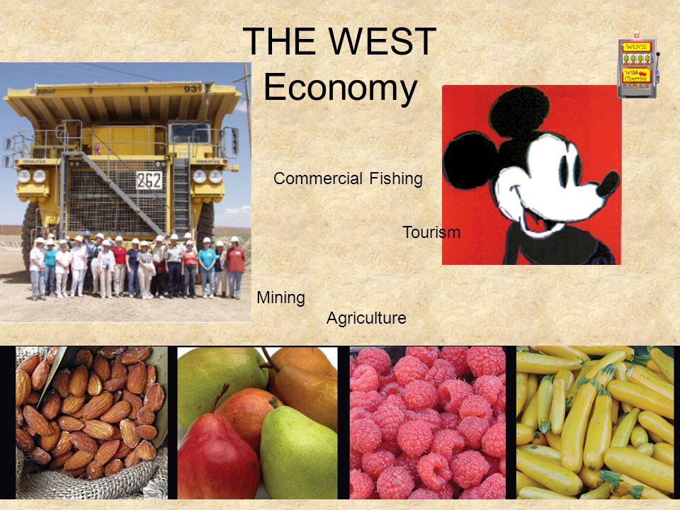 THE WEST Economy Agriculture Tourism Mining Agriculture Commercial Fishing