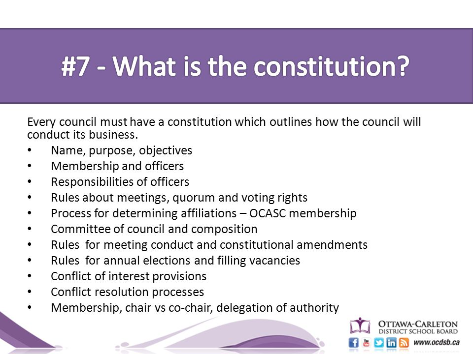 Every council must have a constitution which outlines how the council will conduct its business.