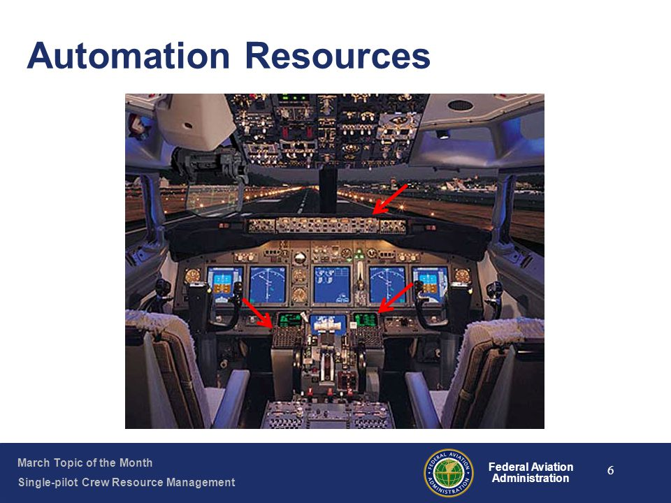 March Topic of the Month Single-pilot Crew Resource Management Federal Aviation Administration 6 Automation Resources