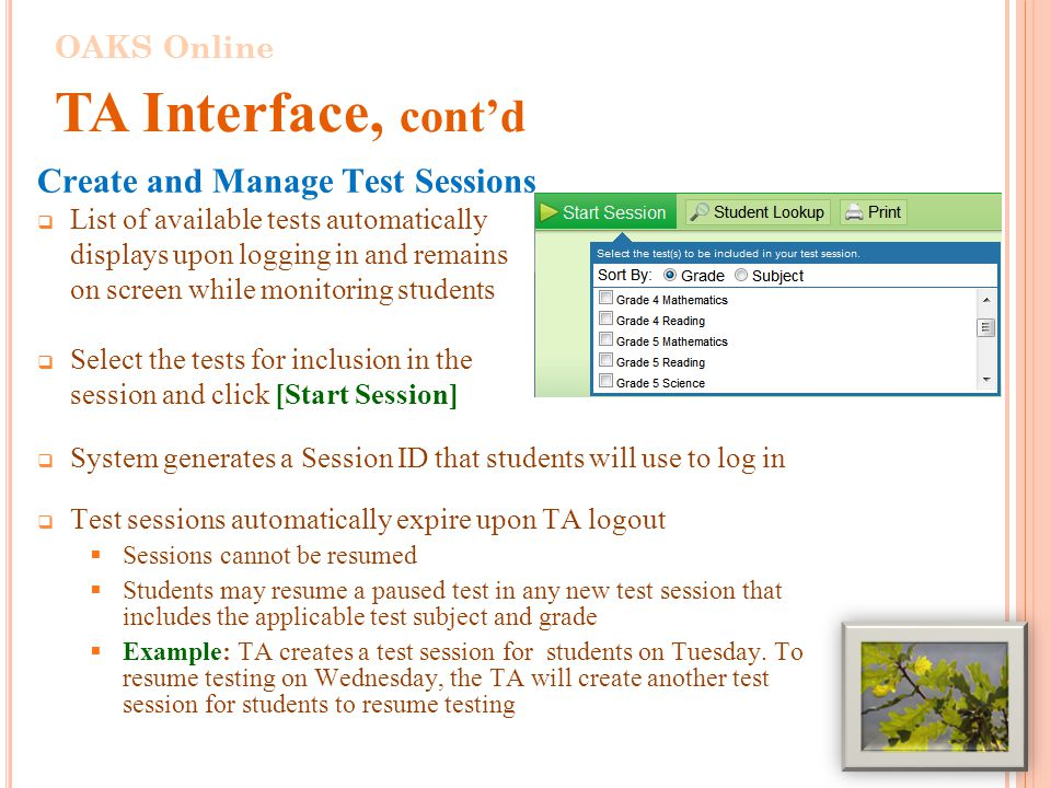 Create and Manage Test Sessions  List of available tests automatically displays upon logging in and remains on screen while monitoring students  Select the tests for inclusion in the session and click [Start Session]  System generates a Session ID that students will use to log in  Test sessions automatically expire upon TA logout  Sessions cannot be resumed  Students may resume a paused test in any new test session that includes the applicable test subject and grade  Example: TA creates a test session for students on Tuesday.