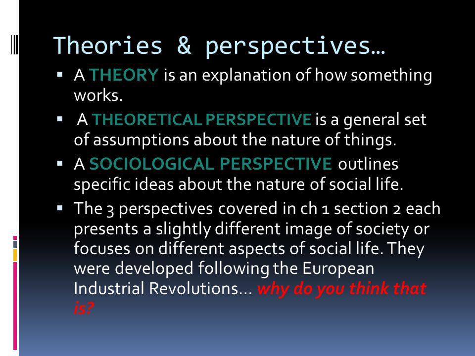 Theories & perspectives…  A THEORY is an explanation of how something works.