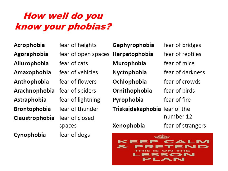 How well do you know your phobias.
