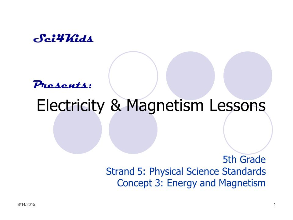 8/14/20151 Electricity & Magnetism Lessons 5th Grade Strand 5: Physical Science Standards Concept 3: Energy and Magnetism Presents: