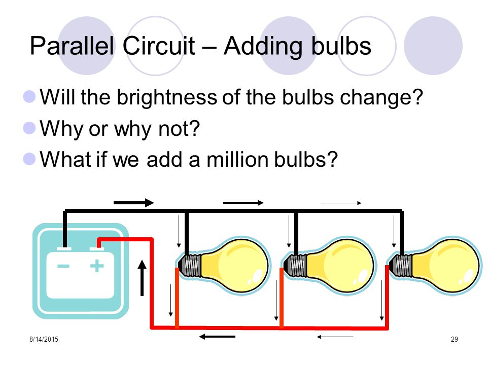8/14/201529 Parallel Circuit – Adding bulbs Will the brightness of the bulbs change.