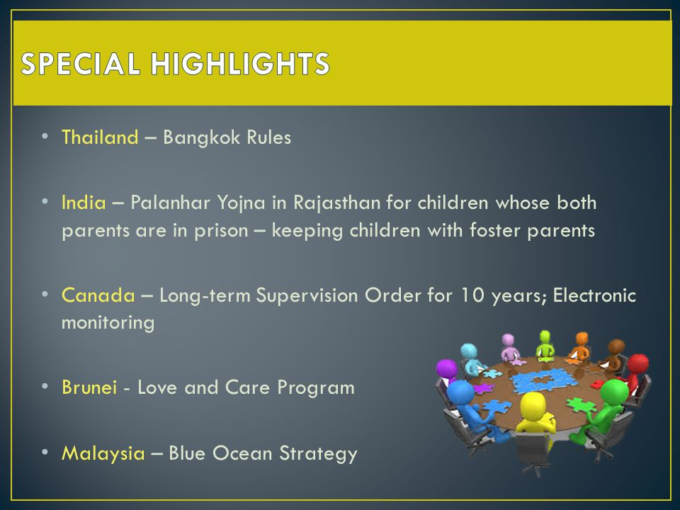 Thailand – Bangkok Rules India – Palanhar Yojna in Rajasthan for children whose both parents are in prison – keeping children with foster parents Canada – Long-term Supervision Order for 10 years; Electronic monitoring Brunei - Love and Care Program Malaysia – Blue Ocean Strategy