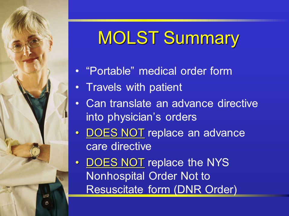 Medical Orders For Life-Sustaining Treatments Molst Staff