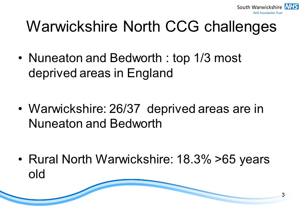 Warwickshire North CCG challenges Nuneaton and Bedworth : top 1/3 most deprived areas in England Warwickshire: 26/37 deprived areas are in Nuneaton and Bedworth Rural North Warwickshire: 18.3% >65 years old 3