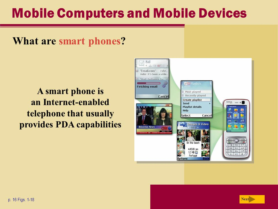 Mobile Computers and Mobile Devices What are smart phones.