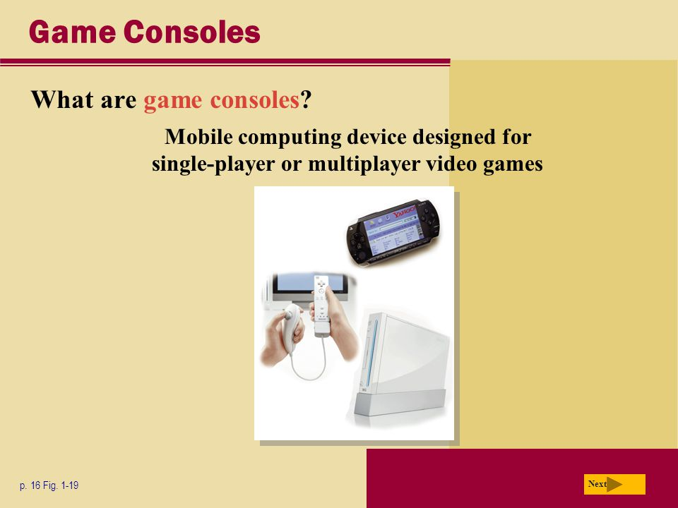 Game Consoles What are game consoles. p. 16 Fig.