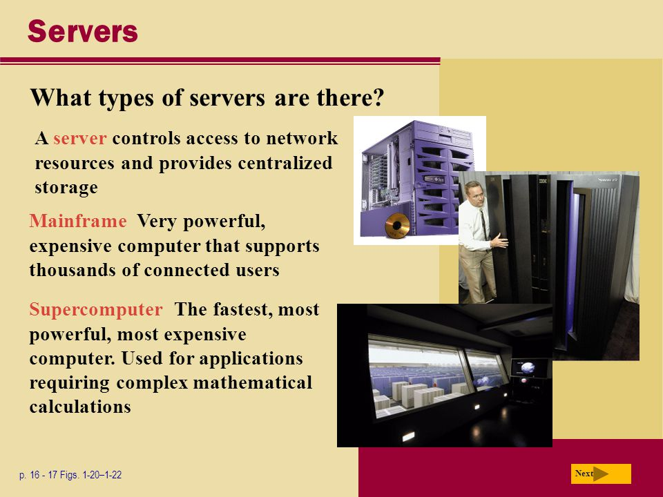 Servers What types of servers are there. p Figs.