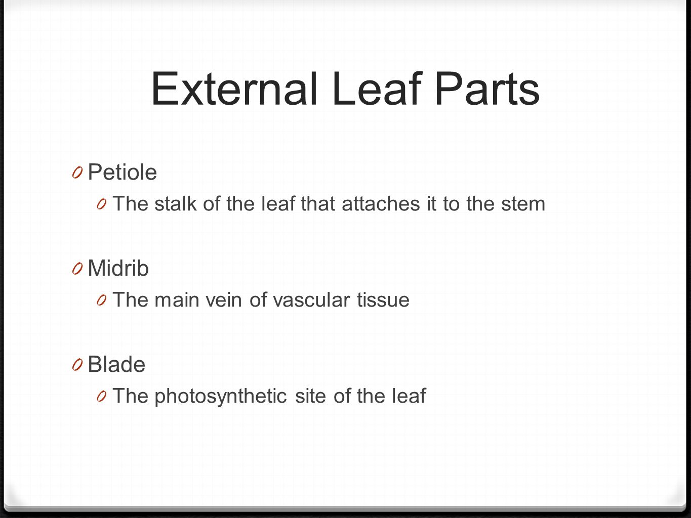 External Leaf Parts 0 Petiole 0 The stalk of the leaf that attaches it to the stem 0 Midrib 0 The main vein of vascular tissue 0 Blade 0 The photosynthetic site of the leaf