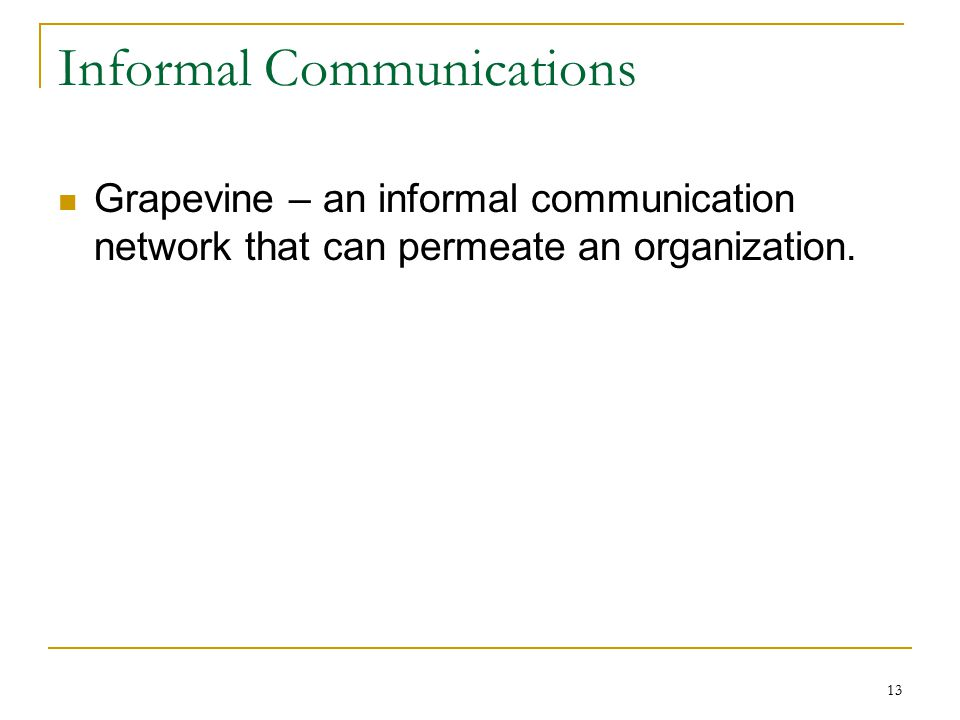13 Informal Communications Grapevine – an informal communication network that can permeate an organization.
