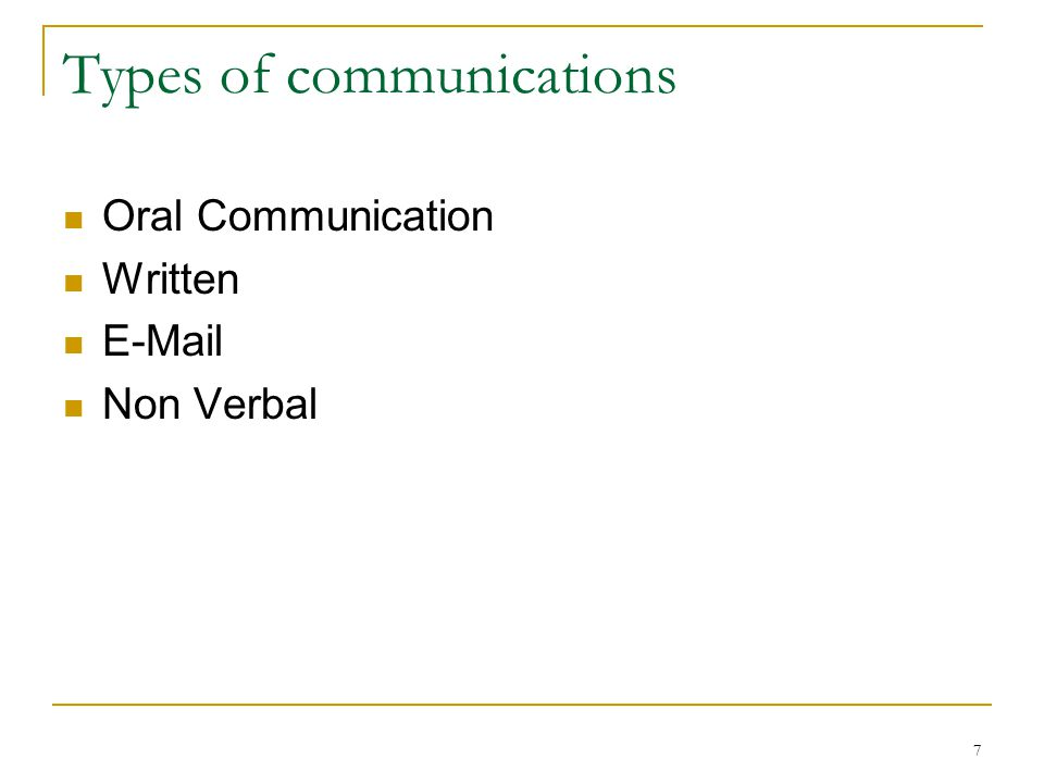 7 Types of communications Oral Communication Written  Non Verbal
