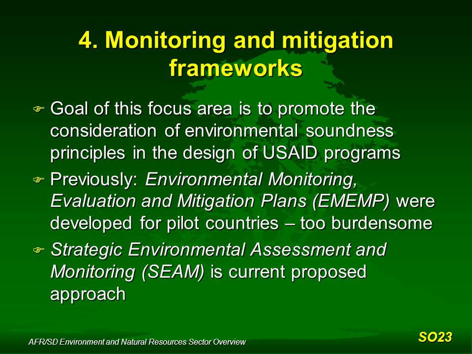 AFR/SD Environment and Natural Resources Sector Overview 4.