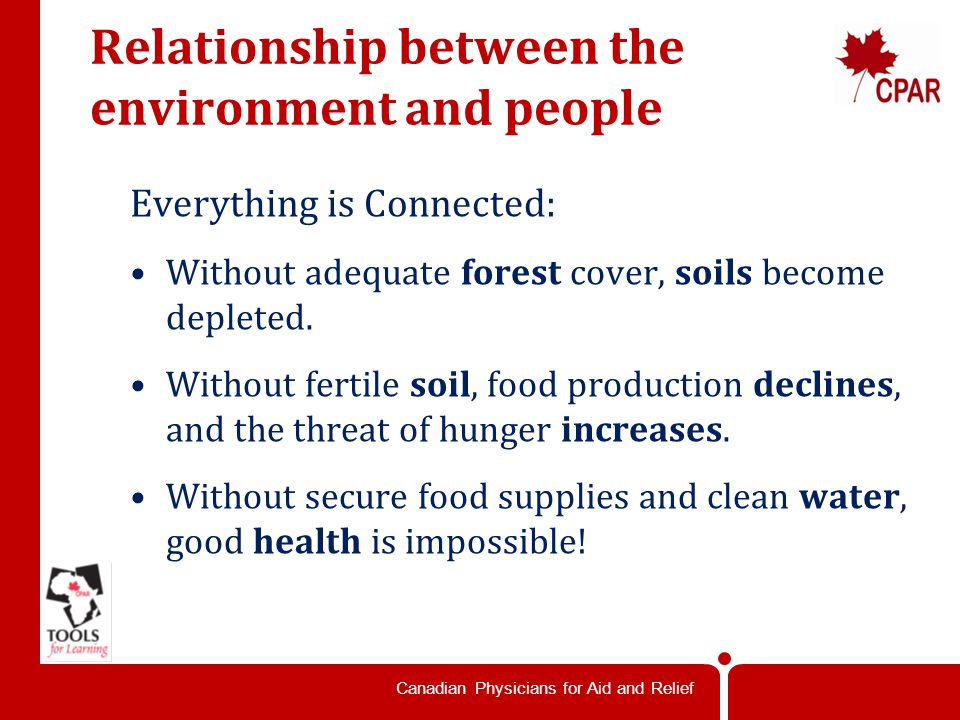 Canadian Physicians for Aid and Relief Relationship between the environment and people Everything is Connected: Without adequate forest cover, soils become depleted.