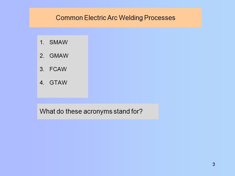 1 Electric Arc Welding. 2 Definition Electric arc welding: A group ...
