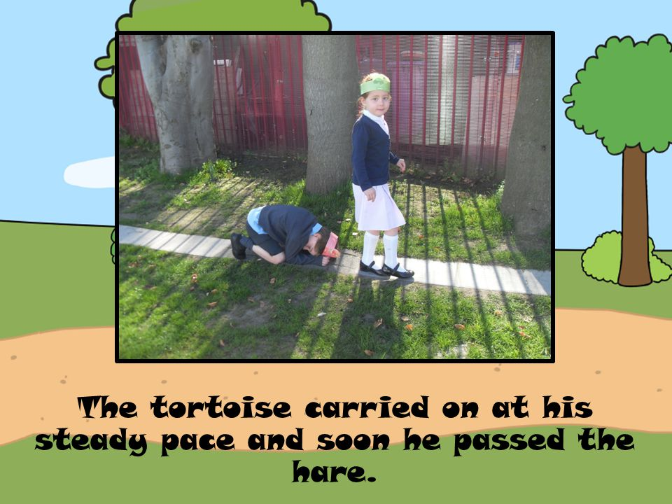The tortoise carried on at his steady pace and soon he passed the hare.
